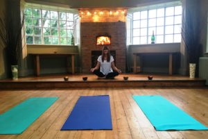 Leigh at Yoga & Wine at Worth Brothers Wines Derby
