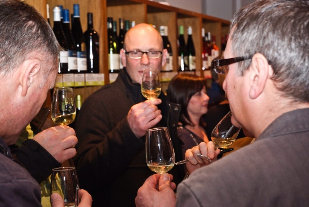 Tasting white wine at Worth Brothers Derby